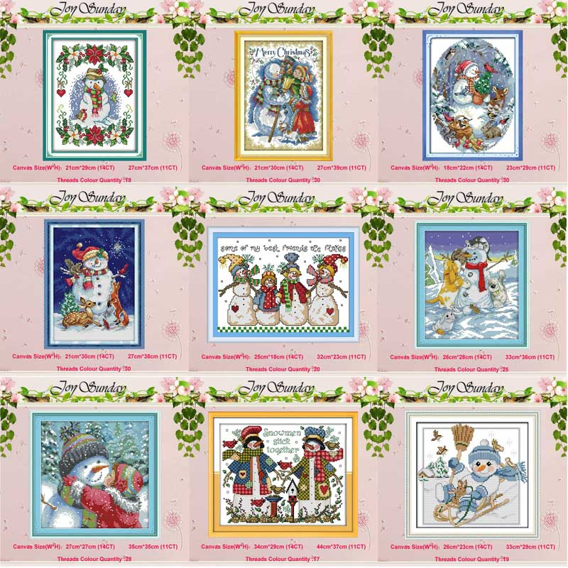 Christmas Snowman Reindeer Counted Cross Stitch 11CT 14CT Cross Stitch Set Wholesale DIY Cross-stitch Kit Embroidery Needlework