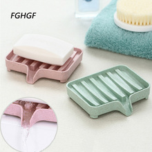 Купить с кэшбэком Fashion Plastic Soap Dish Storage Box Colorful Dishes Bath  Soap Holder Bathroom Organizer Sponge Holder Plate Tray Drain