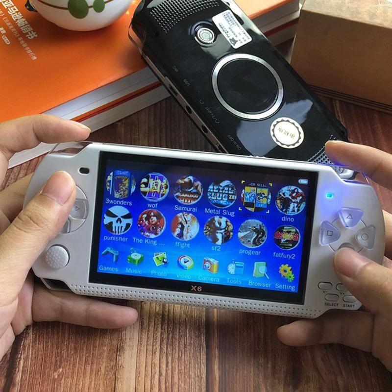 X6 4.3 polegada Portable Video Game Console para GBA/Arcada/construído em 1000 Jogos de NES Handheld 8G jogador Do Jogo de memória com a câmera do pixel 30