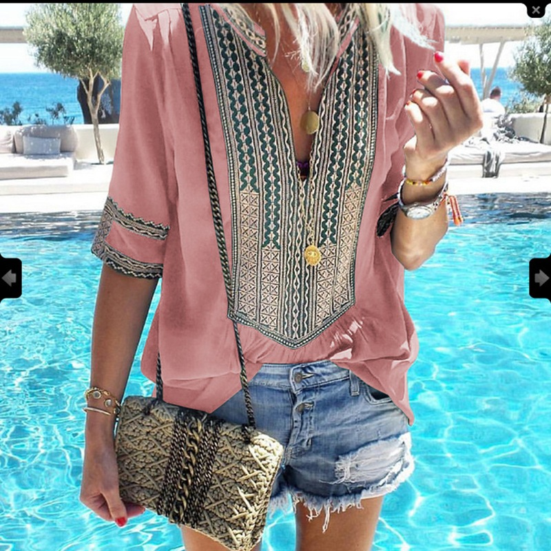 Summer Bohemian Top Chiffon Tunics Women Blouses Big Size 5XL Shirt Female Cotton Loose Blouse Boho Print Half Sleeve Blusas Women Women's Blouses Women's Clothings cb5feb1b7314637725a2e7: black|Blue|Green|Pink|Red|Royal Blue