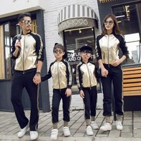 Family Look Fashion Father Kid Mom Matching Clothing Sets Gold Stitching Sports Suits For Baby Boys Girls Mommy And Me Clothes