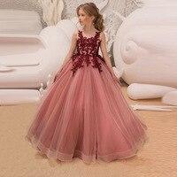 7e90c9270d ... dzieci sukienki dla dziewczynek nastolatków suknia ślubna. Girls Flower  Embroidery Petal Mesh Princess Fluffy Dress Long Events Party Kids Dresses  For ...