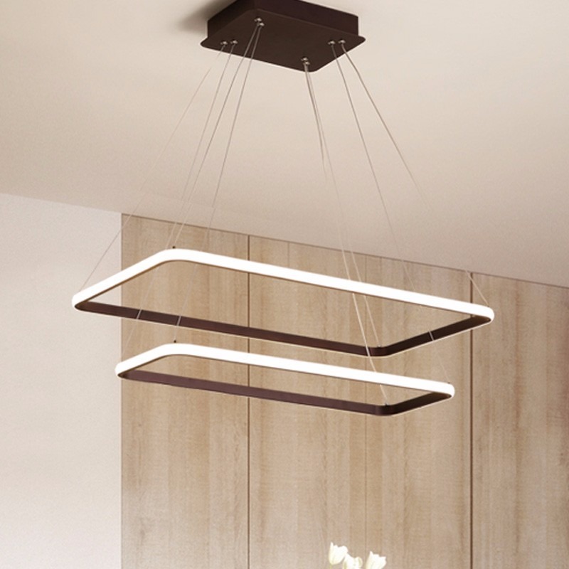 Modern LED Pendant Lights For Dining Room Fixtures Black White Home Living Bedroom Hanging Lamp With Remote Dimmable Luster