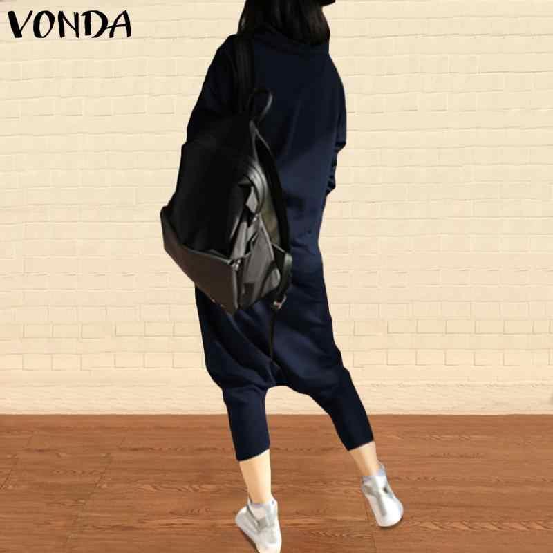 VONDA комбинезон женский комбинезон 2019 осенний Повседневный свободный воротник с отворотом Длинные рукава шаровары брюки плюс размер Комбинезоны мешковатые комбинезоны