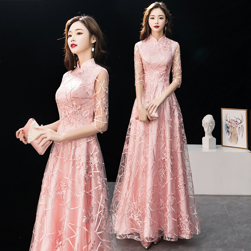 Mingli Tengda   Evening     Dress   Woman Pink Dignified Annual Meeting Long   Dress   Muslim High Collar Half Sleeve   Evening     Dresses