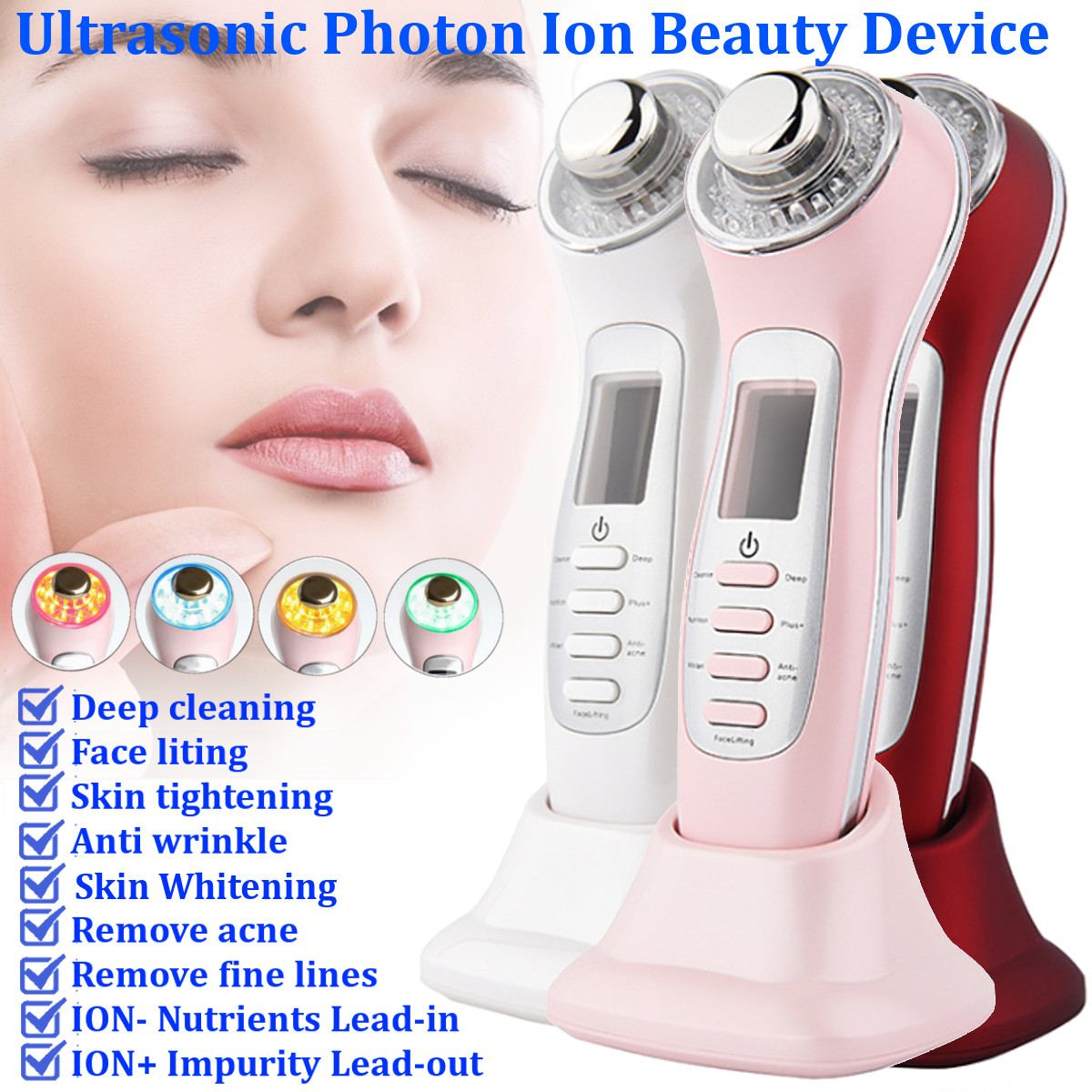 7 in 1 Ultrasonic Photon Therapy Face Deep Cleansing Massager Lifting Rejuvenation Powered Facial Skin Care Beauty Device New7 in 1 Ultrasonic Photon Therapy Face Deep Cleansing Massager Lifting Rejuvenation Powered Facial Skin Care Beauty Device New