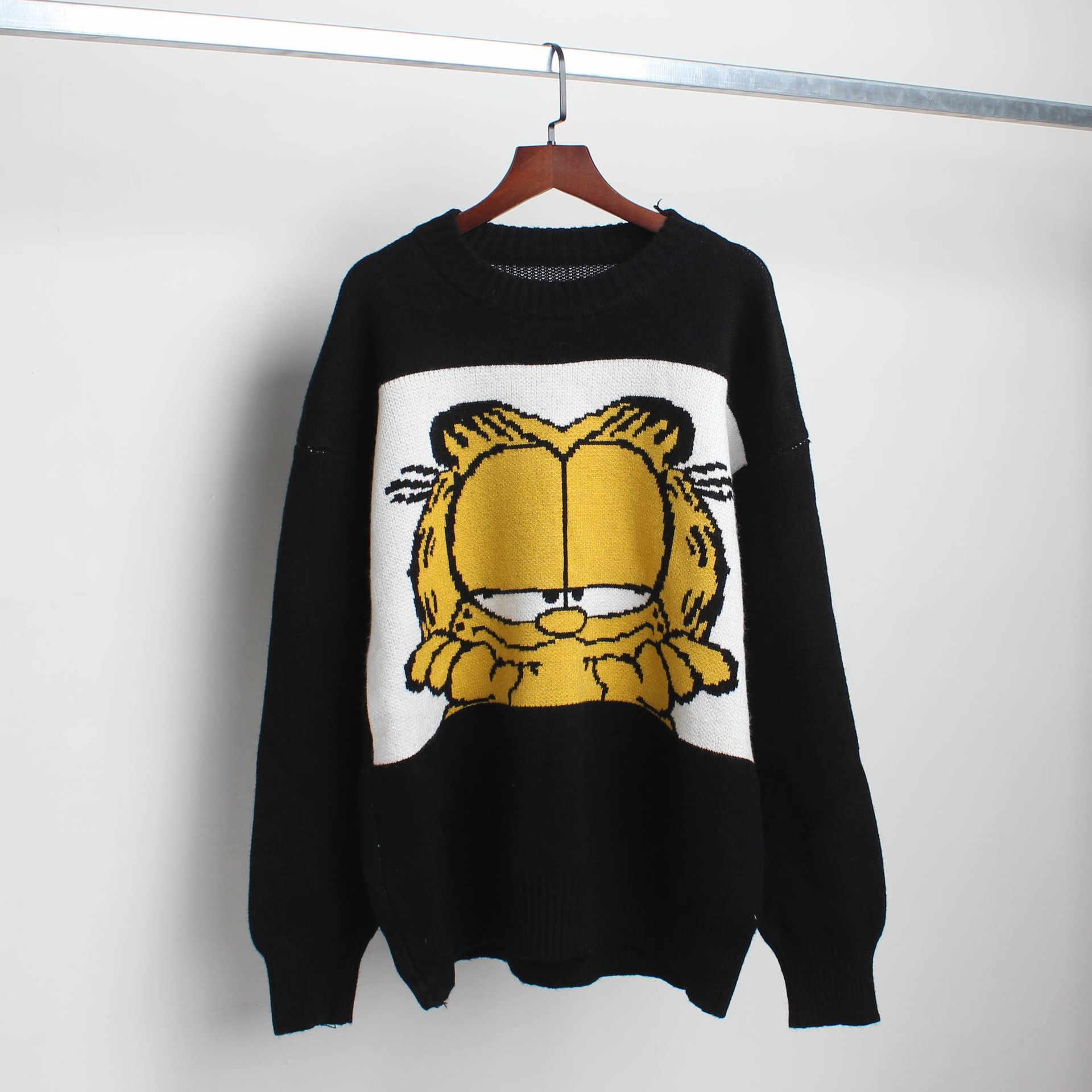 Baru Korea Gambar Kartun Garfield Wanita Sweater Kartun Lucu Longgar Sweater Musim Gugur Musim Dingin Fashion Gadis Pakaian Top