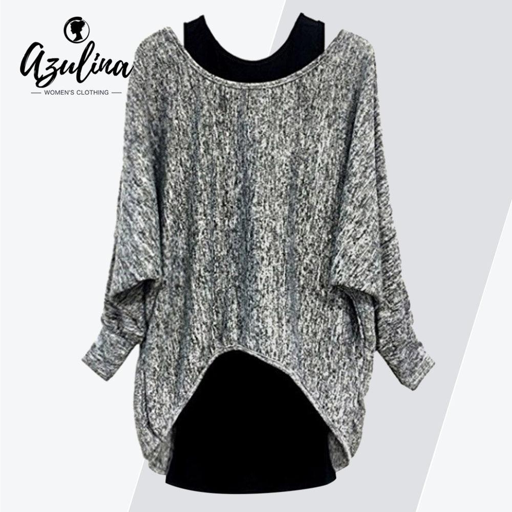 f655aa8eded869 AZULINA Plus Size T-Shirt Women O Neck Batwing Sleeve High Low Long T Shirt