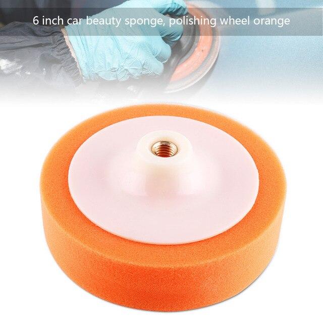"""1Pc 6 """"(15 cm) samochodowe talerze polerskie gąbka polerowanie polerowanie woskowanie Pad koła do bufora do polerowania samochodu pomarańczowy zestaw nakładek gorąca myjnia samochodowa"""