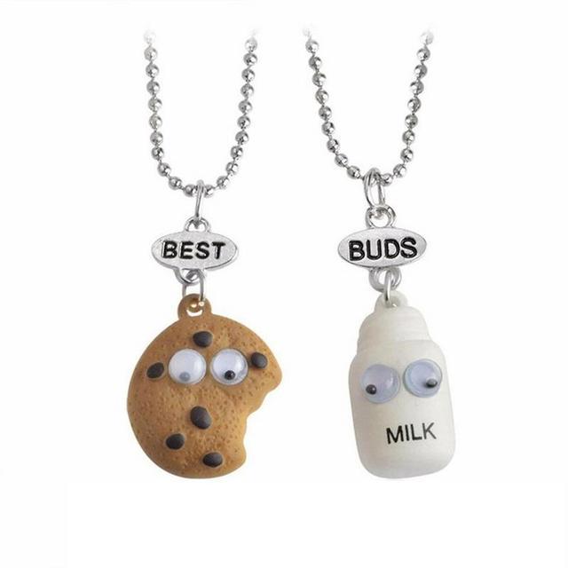 f488da290e New Arrivals 2PCS/Set Cute Cookie And Milk Necklace Friendship Witness Food  Pendant For Your Best Friend Boys Girls Children