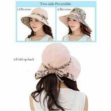 Summer Women Sun Hats 2019 New Casual Beach Bowknot Wide Brim Hat Reversible Foldable