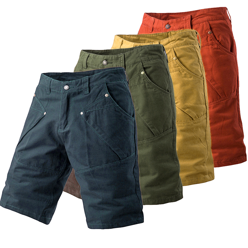 Men's Shorts Fashion Casual Plus Size Candy Color Man Shorts Male Work Combat Half Pants Pocket Slim Fitness Cargo Short Pant
