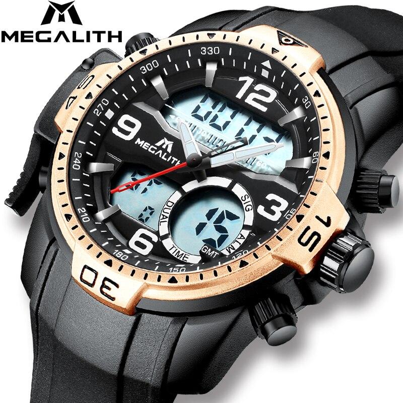 MEGALITH mode décontracté Sport montre pour hommes LED numérique Quartz montre-bracelet étanche alarme chronographe montre mâle horloge