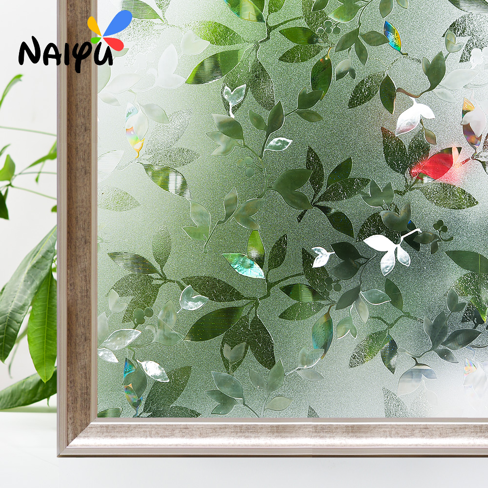 Thickened Leaf pattern Heat Insulation Explosion-proof Glass Films No-glue 3d Static Cling Decorative Sticker Window Film