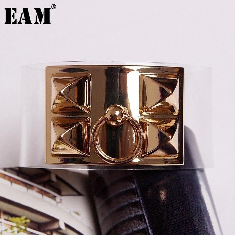 dc99a703d95a  EAM  europeo de moda salvaje coreano exageración 2019 nuevo de la calle  transparente PVO brazalete de Metal pulsera de todo-fósforo LA358