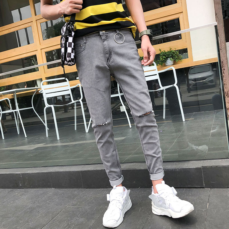 2019 Spring And Summer New Korean Fashion Tide Male Loose Quality Cotton Solid Color Narrow Feet Casual Slim Jeans Streetwear