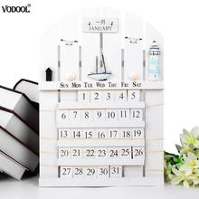 Mediterranean Style Wooden Calendar 2019 New Year Perpetual Calendar DIY Wall Hanging Planner Calendar Ornaments Crafts Gifts