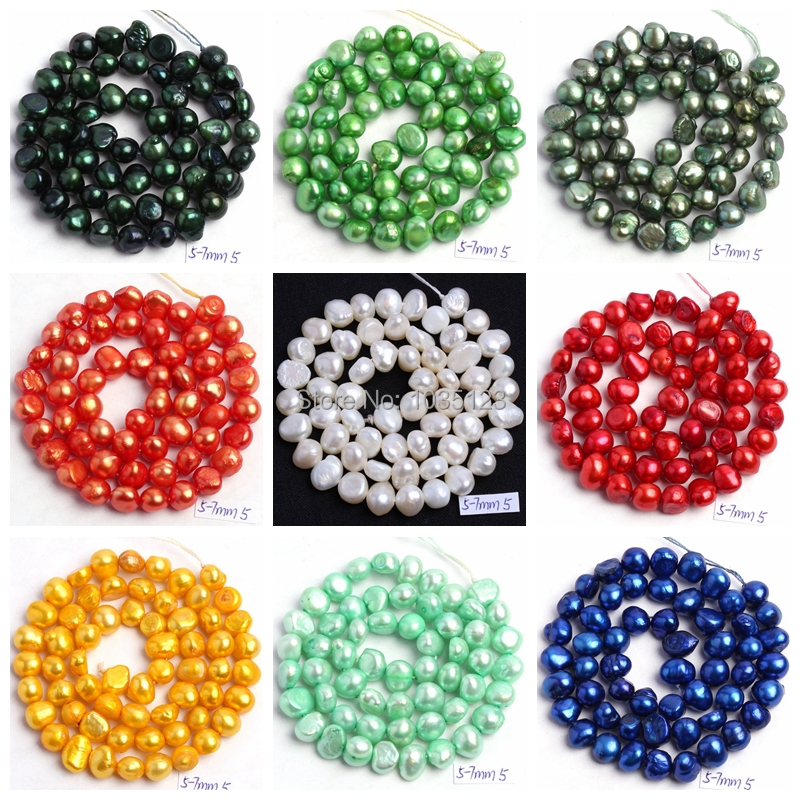 "Free Shipping 18Color 5-7mm Natural multicolor Freshwater Pearl Irregular Shape DIY Loose Beads Strand 14"" Jewellery Making wj49"