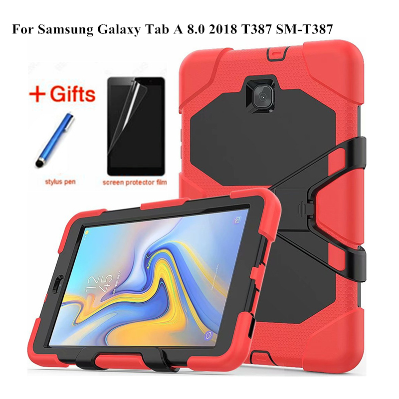 For Samsung Galaxy Tab A 8.0 T387 SM-T387 2018 Tablet Kid Skin Military Heavy Duty Silicon+PC Rugged Stand Protective Cover+Film
