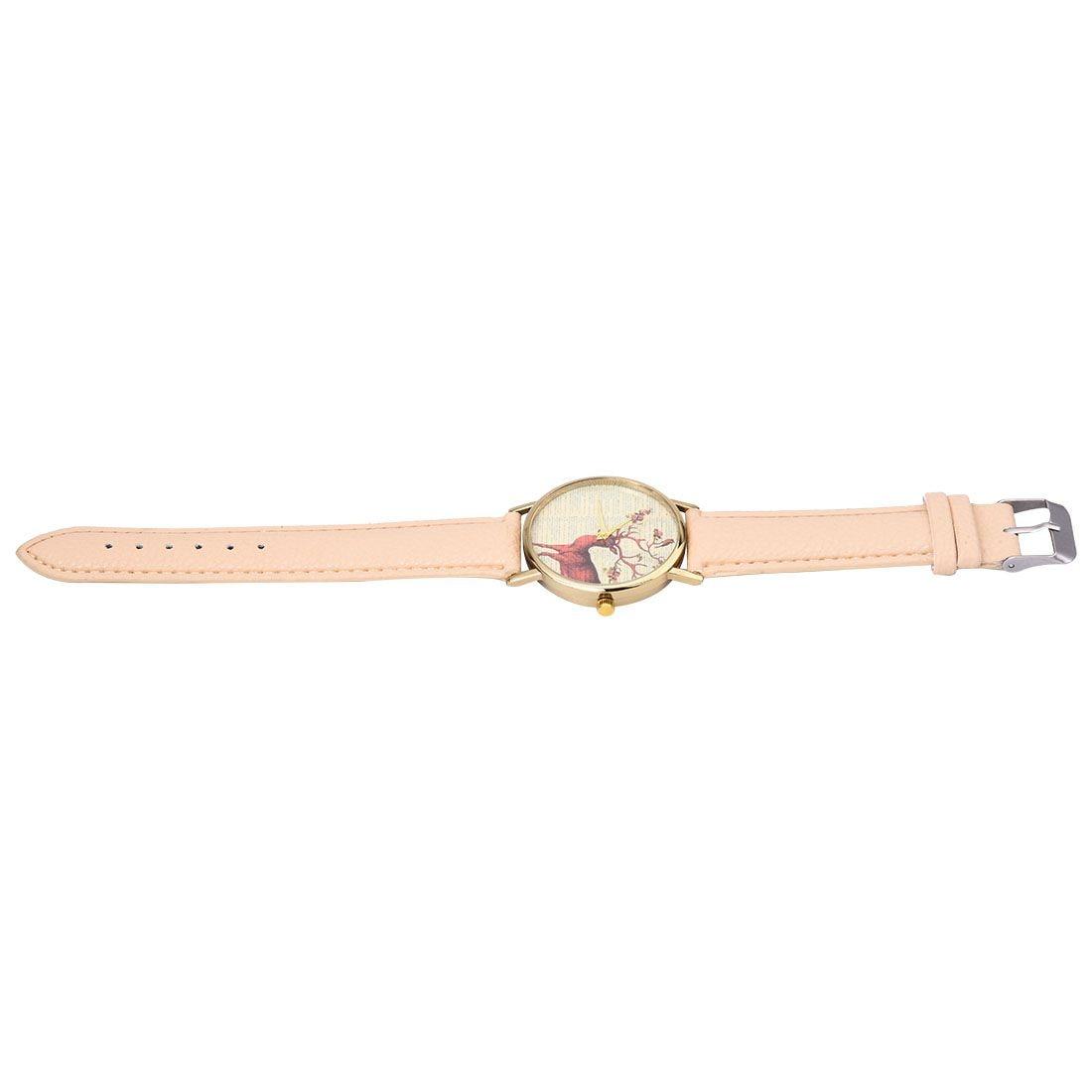 neutral Plum flower Deer Leather belt Quartz watch 2