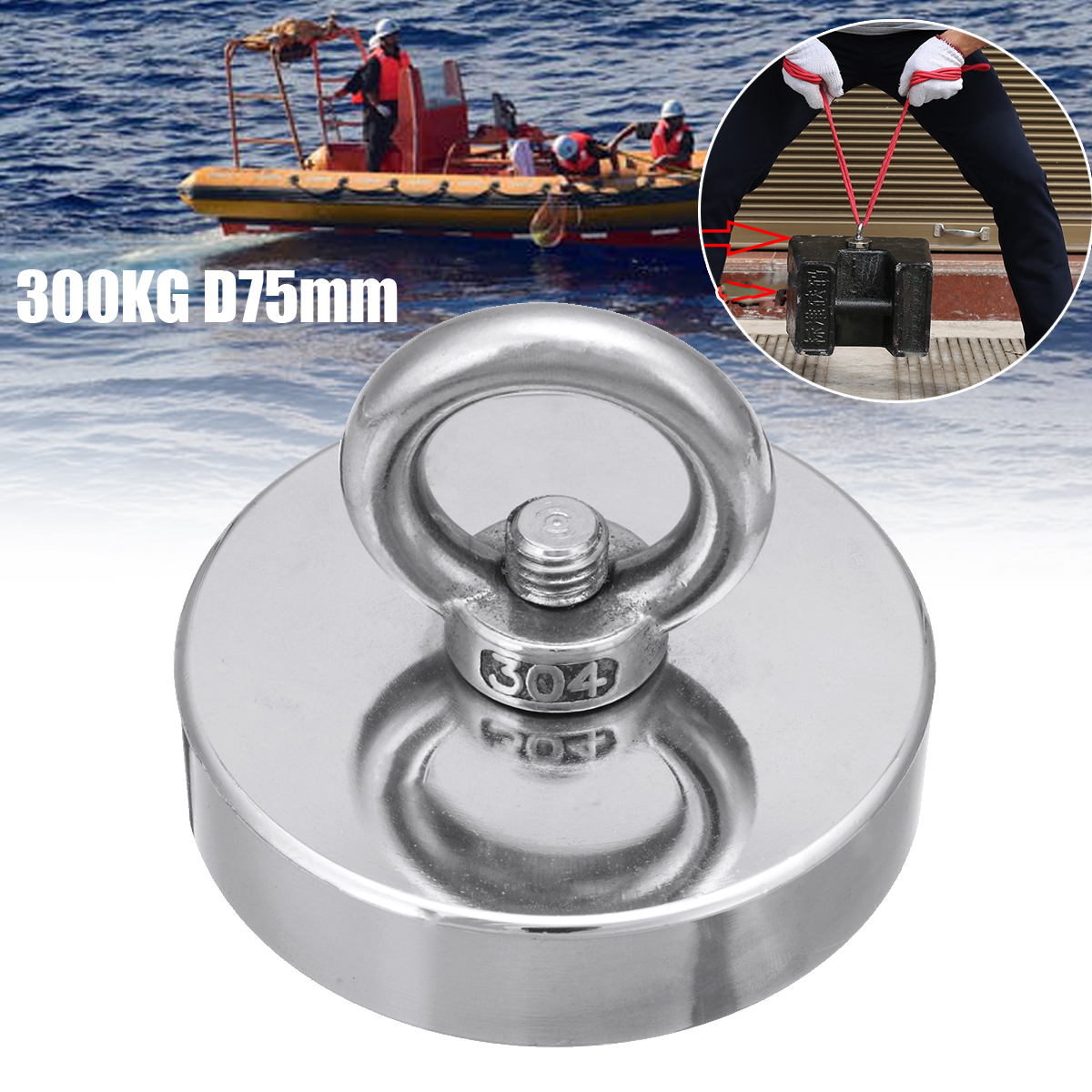 300 KG Ímã De Neodímio Salvamento Pesca Recuperação Salvamento D75mm Recuperar Ímã Poderoso Super Buraco Circular Anel Gancho