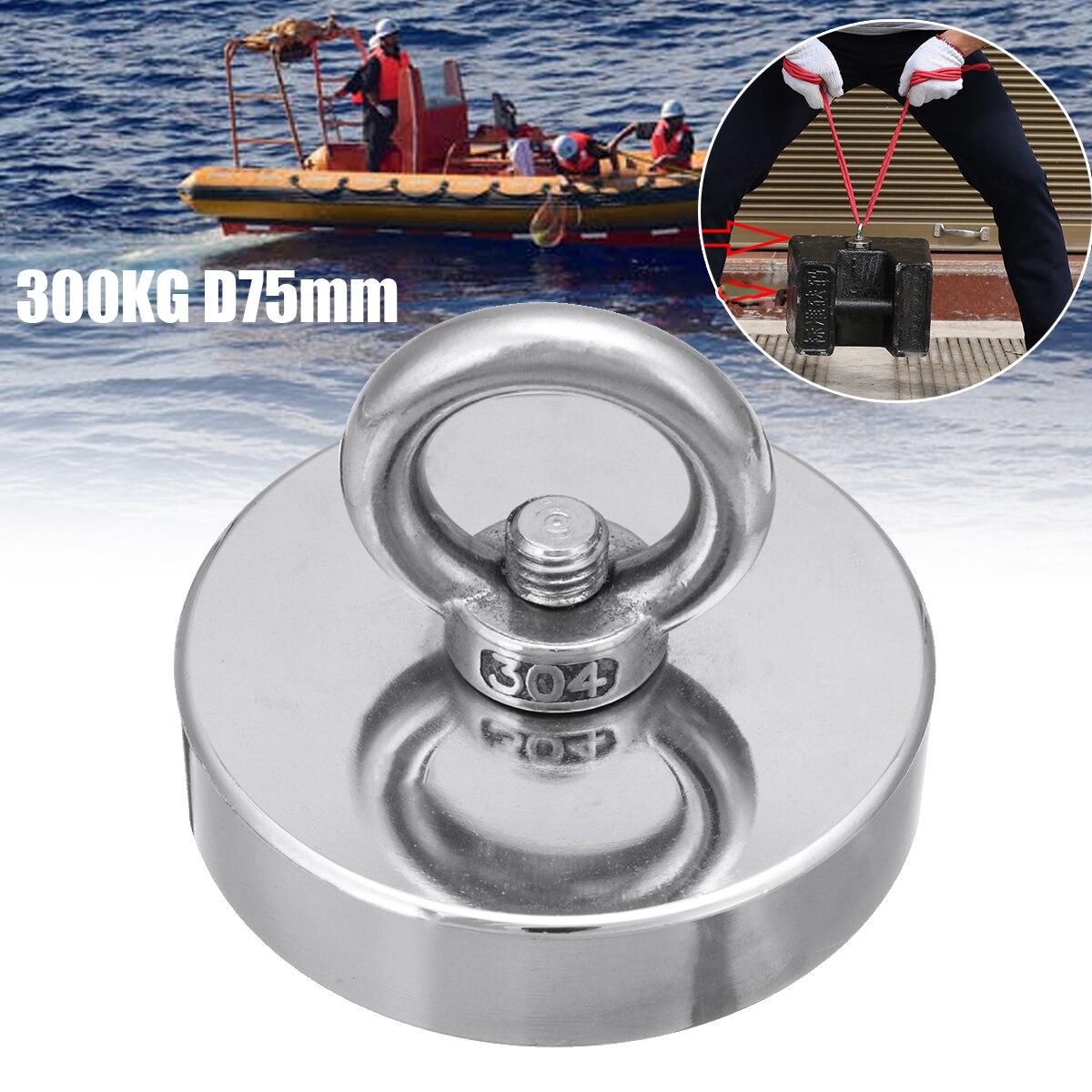 300 KG D75mm Salvage Neodym Magnet Angeln Salvage Recovery Abrufen Magnet Super Leistungsstarke Loch Kreisförmigen Ring Haken