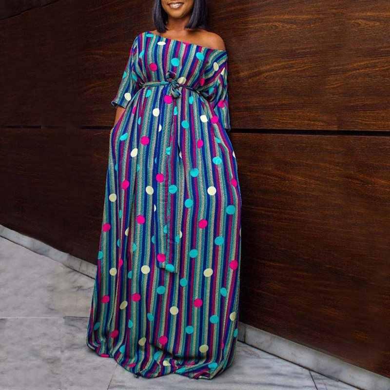 В Африканском этническом стиле в горошек Макси платье женское зеленое Полосатое свободное повседневное большое Пышное Платье с высокой талией на шнуровке женские длинные платья