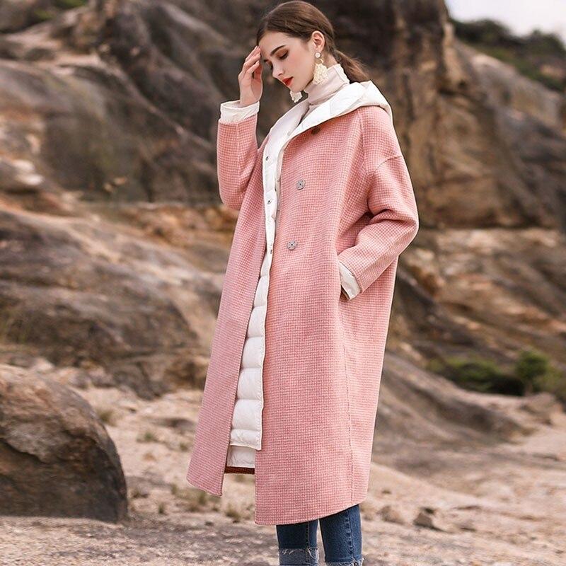 386e78941ce Invierno Chaqueta Abrigo Mujeres Rosa Las Nueva Larga Lana Cara De Moda 2019  Cuello Mujer Pink Doble Delgada Hj85 Redondo Popular Plaid Avtzzx5wn