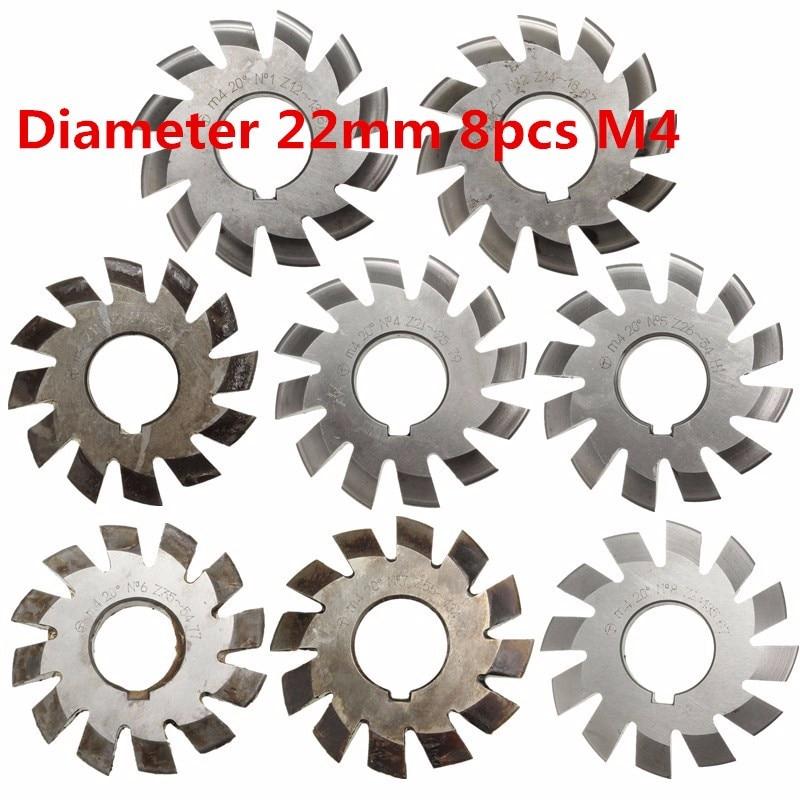 Lot 8pcs M4 20 degree 1Set #1-8 Involute Gear Cutters HSS Module 4 Gear Cutters
