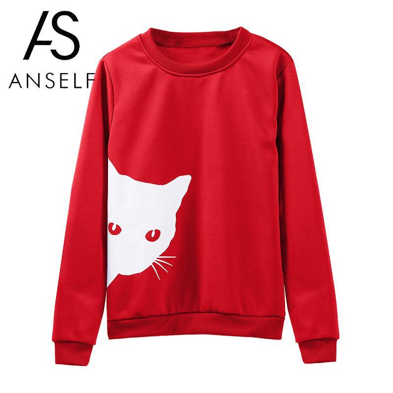 2019 Autumn Winter Jumpers Women Casual Sweatshirt Cat Print Long Sleeves Fleece Warm Hoodies Pullovers Outwear Fenale Tunics
