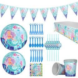 16 шт./sLittle Mermaid принцесса бумажная посуда Салфетка под тарелку кружку приглашение скатерть шар сумка пользу подарок на день рождения