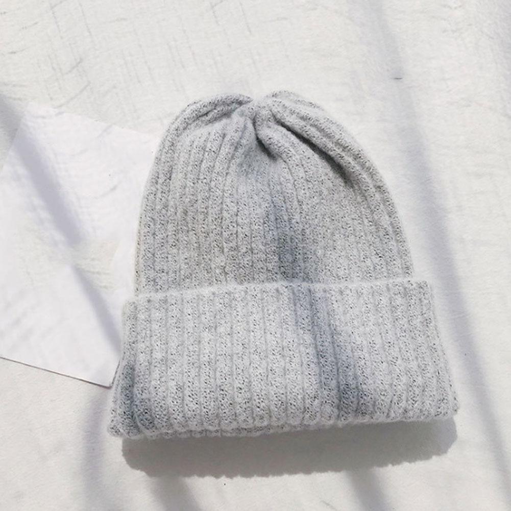 Women Men Soft Autumn Winter Ski Cap Beanie Hip-Hop Hat Warm Matching Knitting Solid