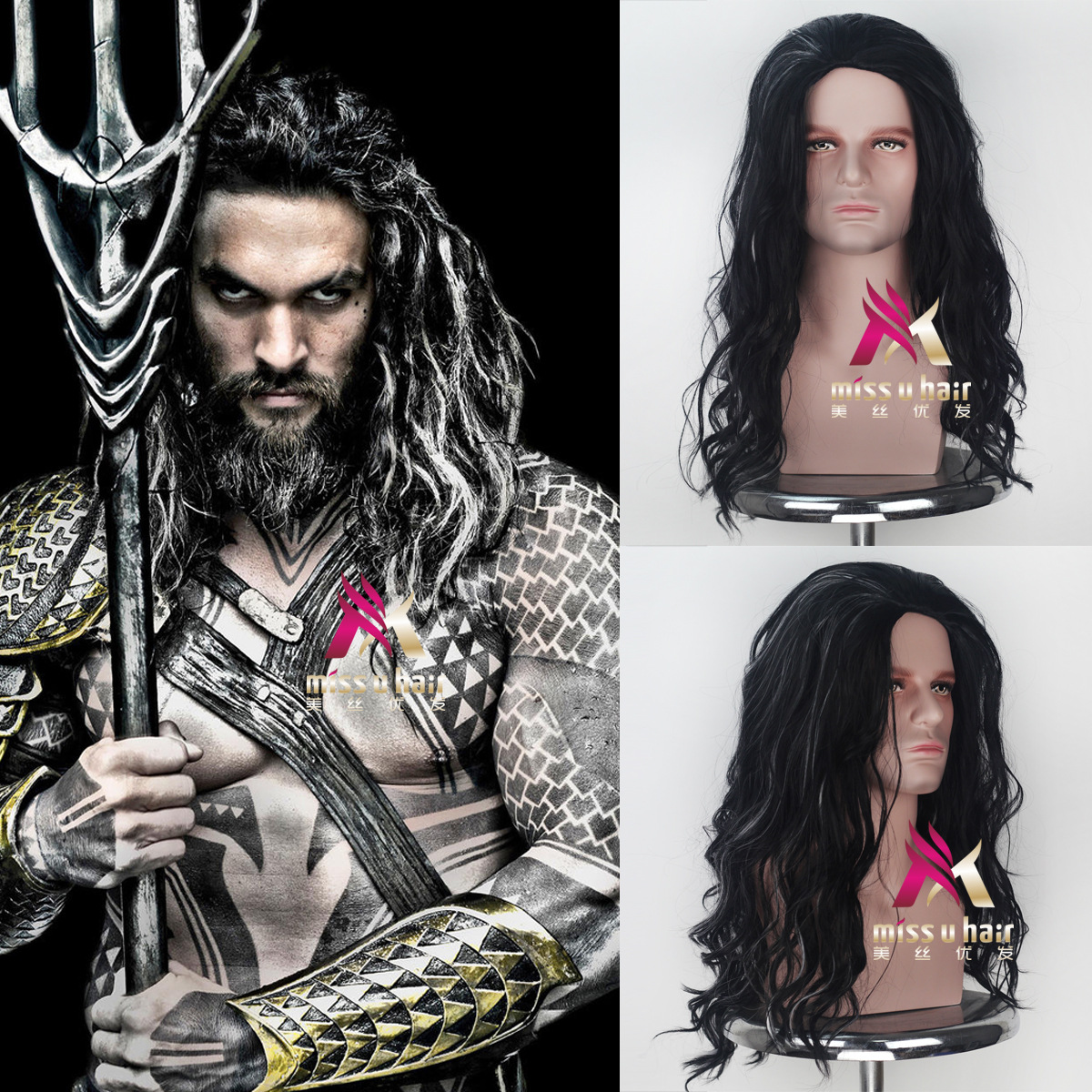 Movie Justice League Aquaman Wig Aquaman Role Play Hair Comic Cosplay Jason Momoa Wig Carnival Brown Hair for Men Adult Cosplay