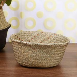 Image 5 - Foldable Storage Basket Creative Natural Seagrass Rattan Straw Wicker Folding Flower Pot Baskets Garden Planter Laundry Supplier