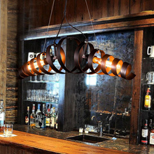 Modern vintage pendant lamps black Loft Style Hanging Lights wrought iron Dining Room Lights bar spiral staircase Led Lamp