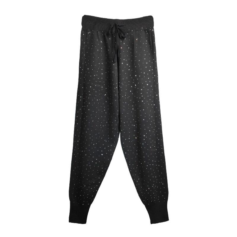 Diamond Gypsophila Pattern High Waist Women Jogger Pants England Style White Black Sweatpants Spring Casual Knitted Harem Pants