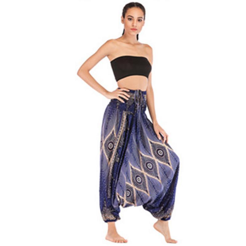 Indian Style Casual Sports Pants Ladies Loose Sports Fitness Clothes Bohemian Style Large Crotch Jumpsuit Belly Dance Bottoms