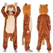 Новый год карнавал кигуруми Тигр костюм льва детские комбинезон с капюшоном  Детские фланелевые пижамы для мальчиков fc2c6b4844c33