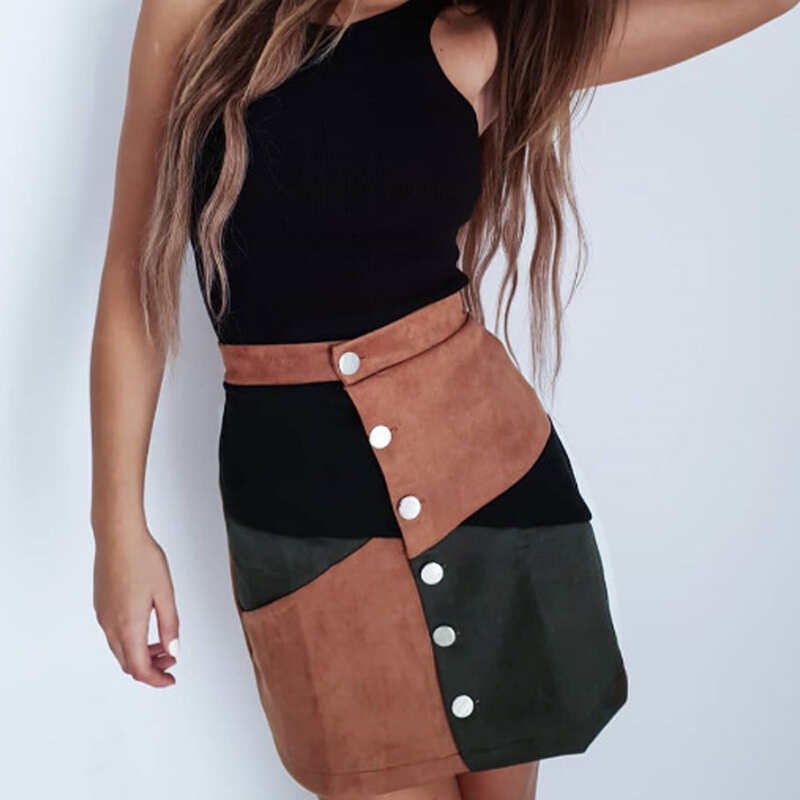 Suede Leather Skirt With Button In Front High Waist Short Mini Skirt Women Patchwork Club Party Pencil Skirts Female