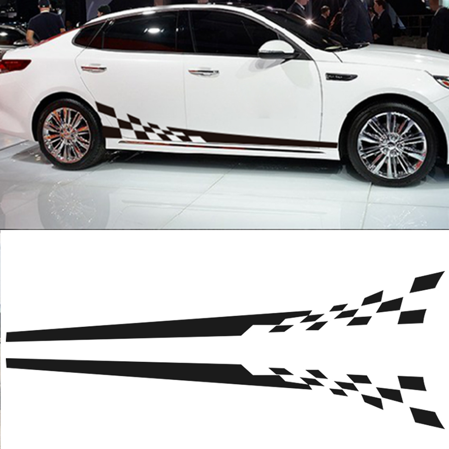 2pcs Car Decal Vinyl Body Sticker Race Checkered Graphics Side Stickers in Car Stickers from Automobiles Motorcycles