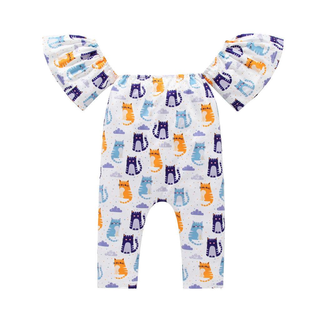0-24 M Peuter Baby Baby Meisje Mooie Vlinder Mouw Cartoon Bloemen Romper Jumpsuit Kleding Outfits