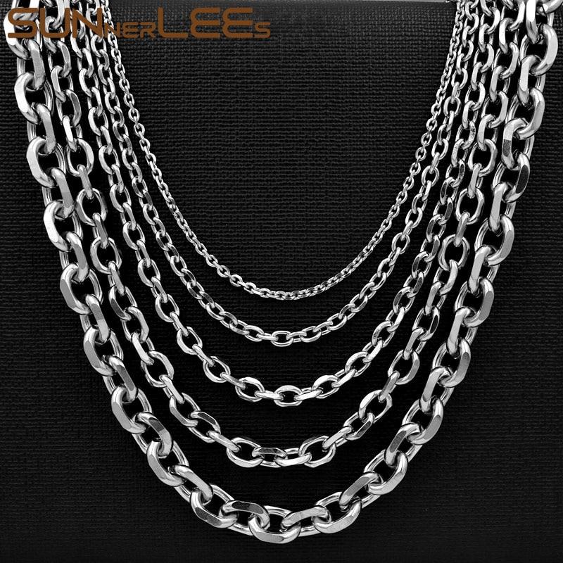 Sunnerlees Mode Schmuck 316l Edelstahl Halskette 2mm ~ 10mm Silber Gold Schwarz Link Kette Männer Frauen Geschenk Sc37 N