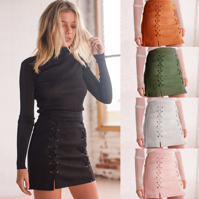 Corduroy Suede Bandage Lace Up High Waist Party Pencil Short Mini Skirt Ladies  Sexy streetwear women skirt bottom