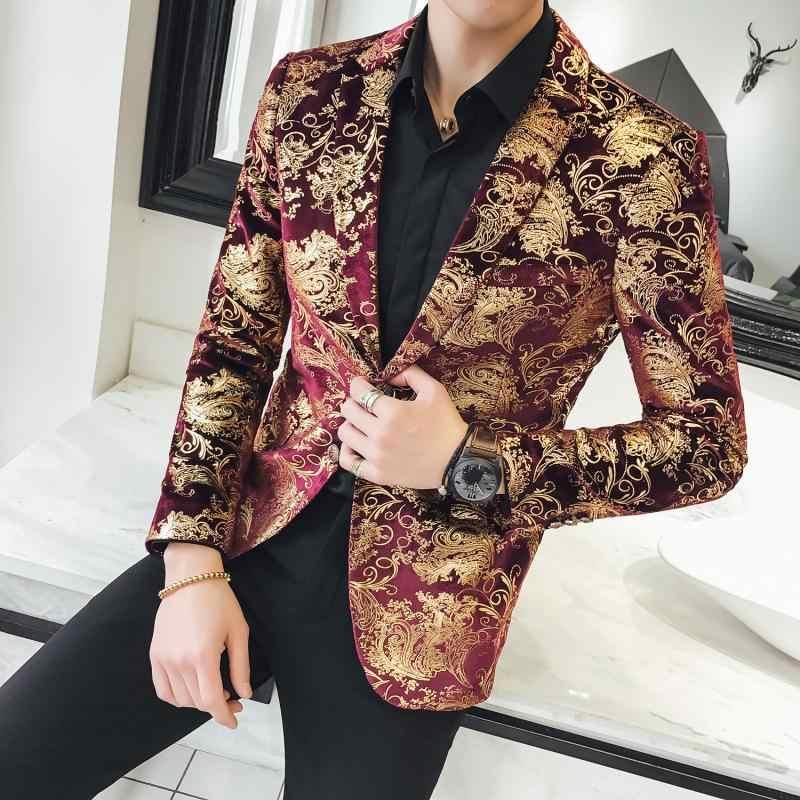 Золотой красный цветочный блейзер Для мужчин s Slim Fit уличной Для мужчин блейзер моды блейзер Для мужчин весна ночной клуб для выпускного праздничная одежда