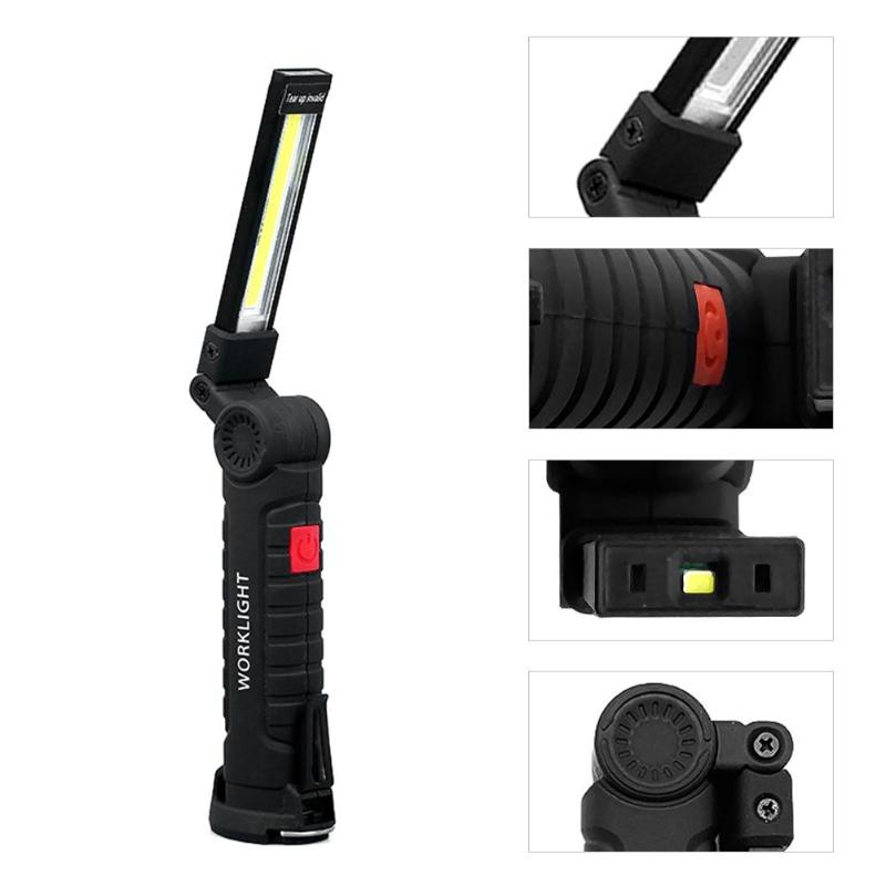 COB Work Lights Multi-functional Flashlight Torch USB Rechargeable LED Work Light Magnetic COB Lantern Hanging Hook Lamp