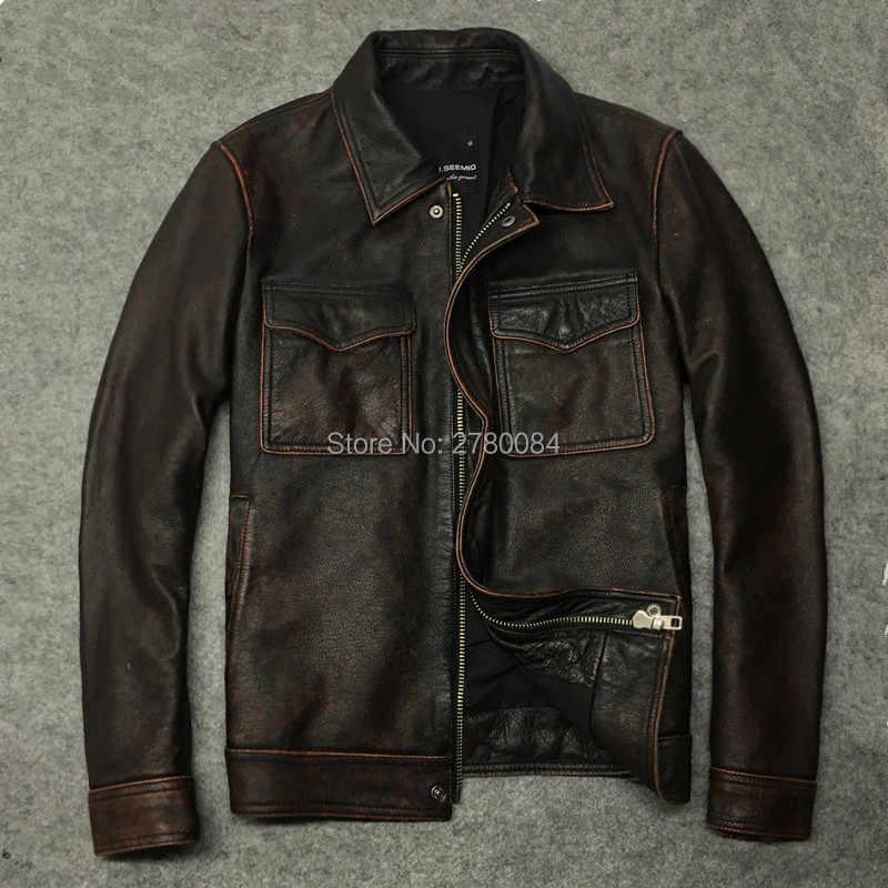 Мужская куртка из натуральной кожи Gu. seemio верхняя одежда воловьей в старом стиле
