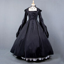 Vintage Costume 1860s Civil War Ball Gown Dress Black Gothic Lolita Hooded Dresses Victorian Renaissance Halloween Witch Clothes(China)