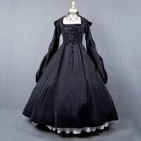 Vintage Costume 1860s Civil War Ball Gown Dress Black Gothic Lolita Hooded Dresses Victorian Renaissance Halloween Witch Clothes