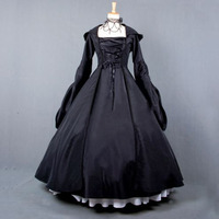 Vintage Costume 1860s Civil War Ball Gown Dress Black Gothic Lolita Hooded Dresses Victorian Renaissance Halloween Witch Clothes