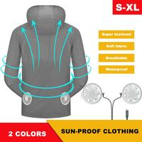 Waterproof Outdoor Air Conditioner Shirt Coat Soft Comfortable Sun Protection Cooling Fan Clothing